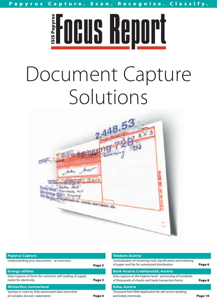 Isis Papyrus Document Capture Solutions