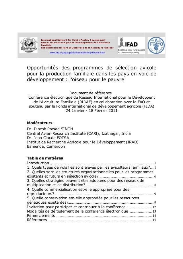 International Network for Family Poultry Development              Réseau International pour le Développement de lAvicultur...