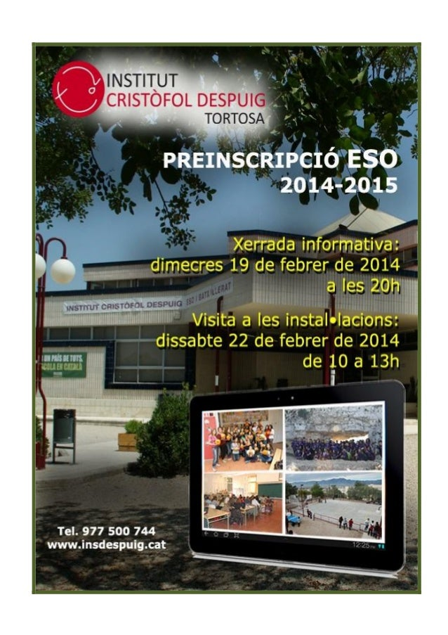  QUI SOM? L'institut Cristòfol Despuig de Tortosa, la titularitat del qual correspon al Departament d'Ensenyament de la G...