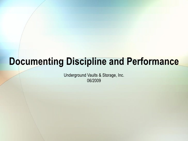 Documenting Discipline And Performance