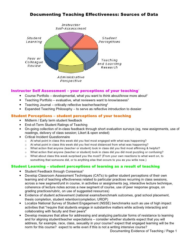 Documenting Teaching Effectiveness: Sources of DataInstructor Self Assessment – your perceptions of your teaching1    • Co...