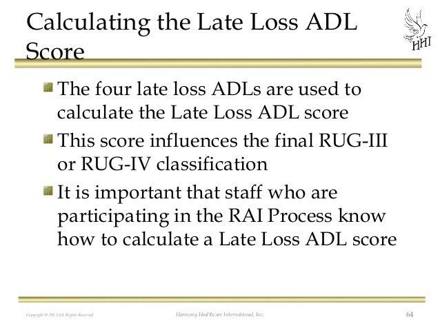 Adl Index Score Loss Adl Score The Four
