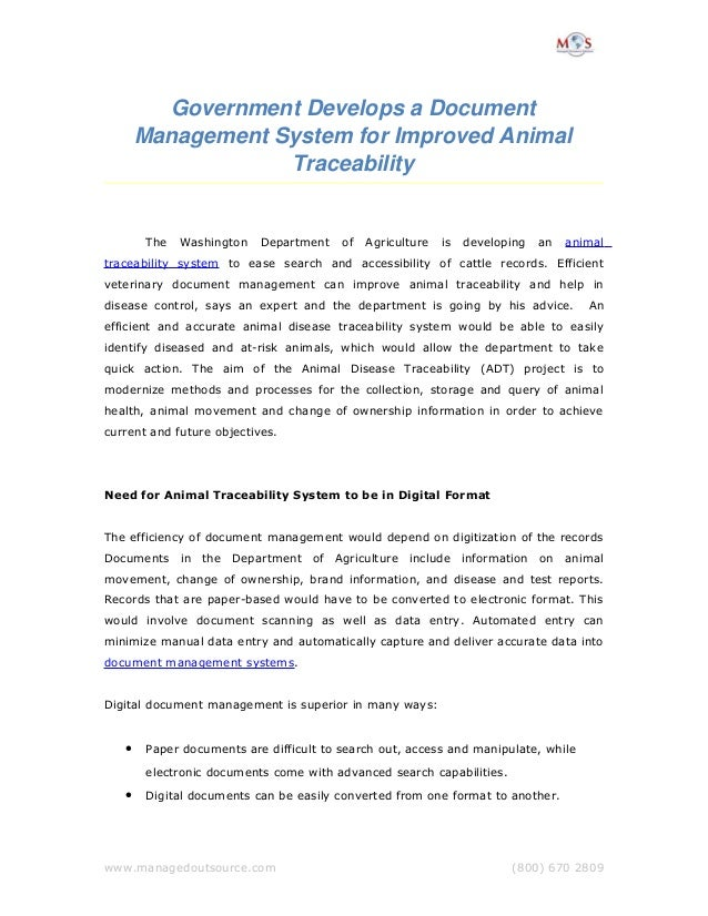 Government Develops a Document  Management System for Improved Animal  Traceability The Washington Department of Agricultu...