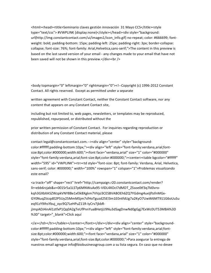 """<html><head><title>Seminario claves gestión innovación 31 Mayo CCS</title><styletype=""""text/css""""> #VWPLINK {display:none}</..."""