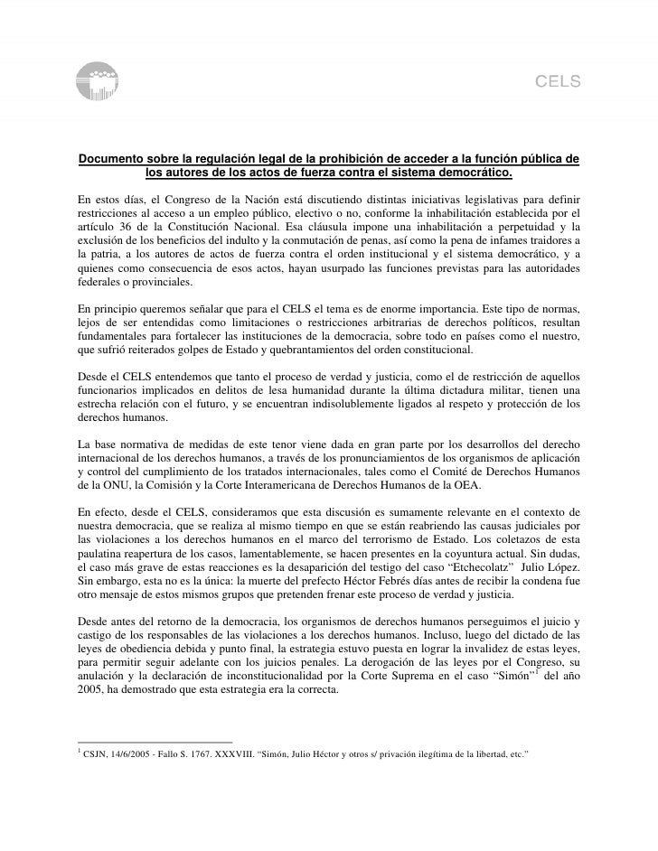 Documento sobre la regulación legal de la prohibición de acceder a la función pública de           los autores de los acto...
