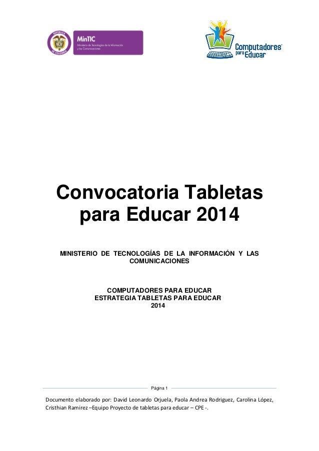 Documento técnico bases convocatoria tabletas para educar 2014
