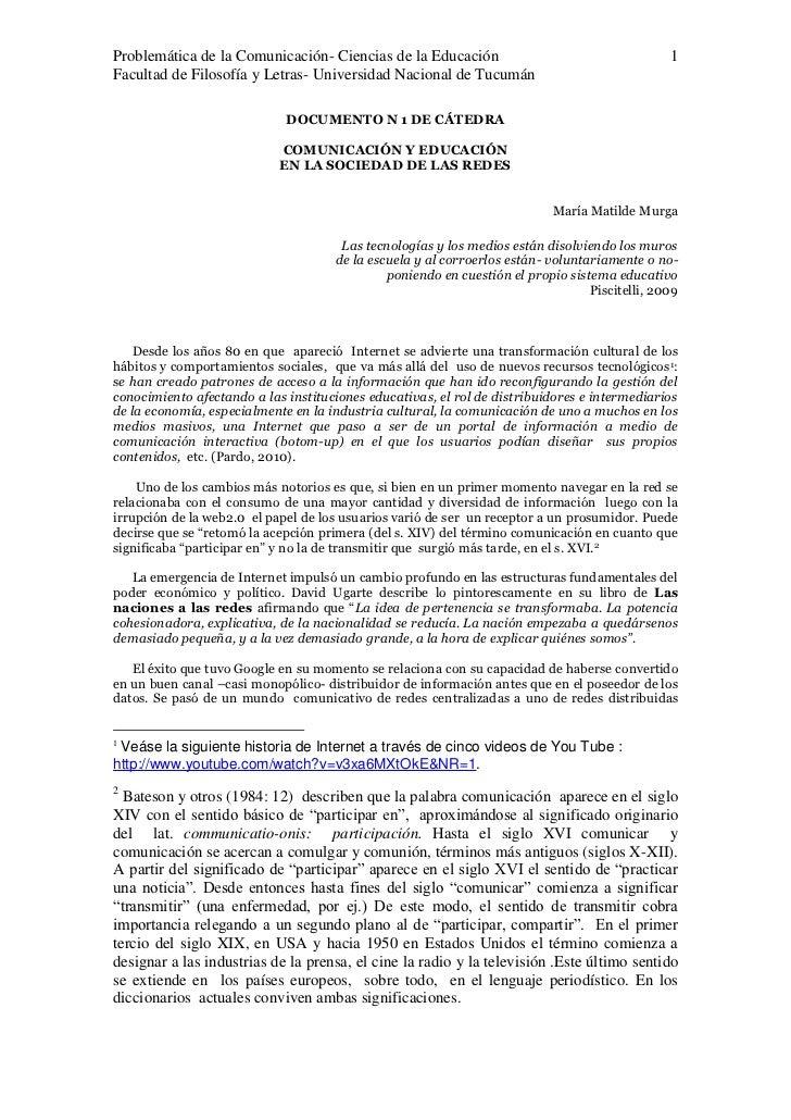 Problemática de la Comunicación- Ciencias de la Educación                                      1Facultad de Filosofía y Le...