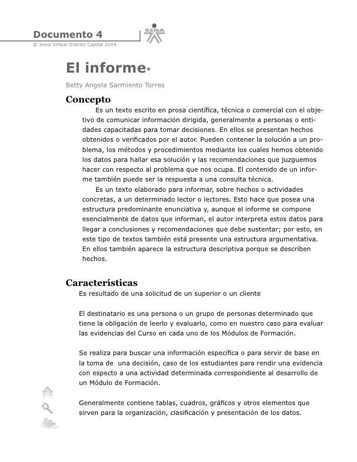 Documento 4 © Sena Virtual Distrito Capital 2004                   El informe*               Betty Angela Sarmiento Torres...