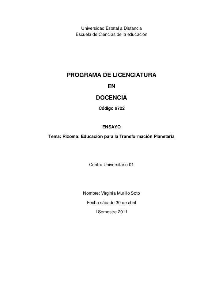 Universidad Estatal a Distancia<br />Escuela de Ciencias de la educación<br />PROGRAMA DE LICENCIATURA <br />EN<br />DOCEN...