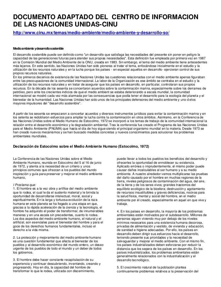 DOCUMENTO ADAPTADO DEL CENTRO DE INFORMACIONDE LAS NACIONES UNIDAS-CINUhttp://www.cinu.mx/temas/medio-ambiente/medio-ambie...