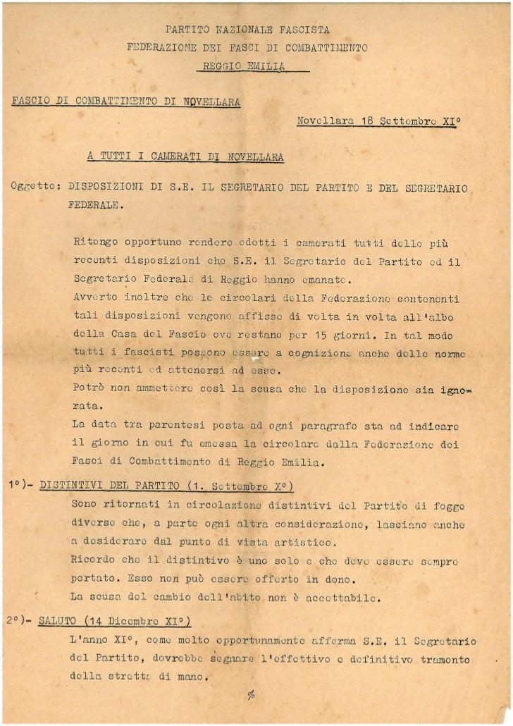 Documento anno '30 a tutti i camerata di Novellara