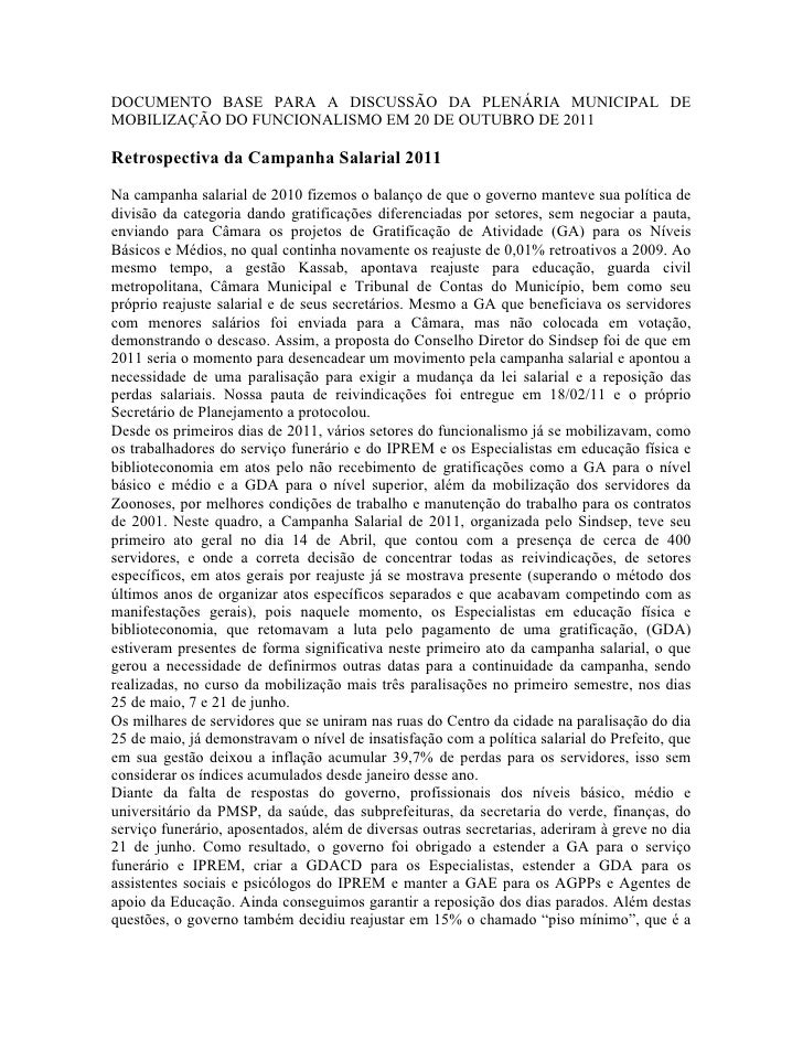 DOCUMENTO BASE PARA A DISCUSSÃO DA PLENÁRIA MUNICIPAL DEMOBILIZAÇÃO DO FUNCIONALISMO EM 20 DE OUTUBRO DE 2011Retrospectiva...