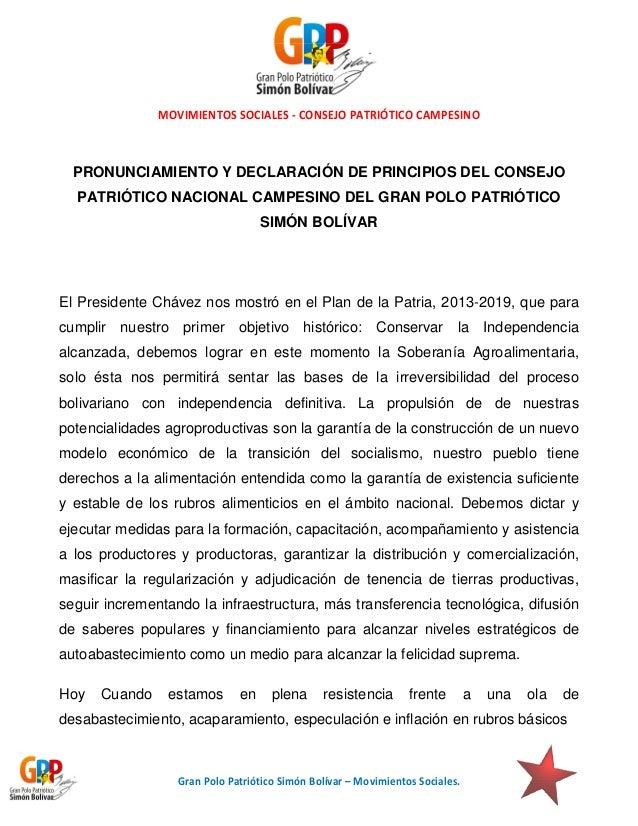 MOVIMIENTOS SOCIALES - CONSEJO PATRIÓTICO CAMPESINO  PRONUNCIAMIENTO Y DECLARACIÓN DE PRINCIPIOS DEL CONSEJO PATRIÓTICO NA...