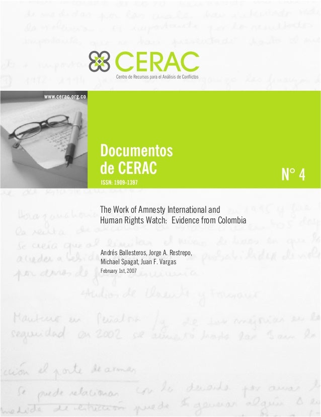 Documento CERAC No. 4: The Work of Amnesty International and Human Rights Watch: Evidence from Colombia