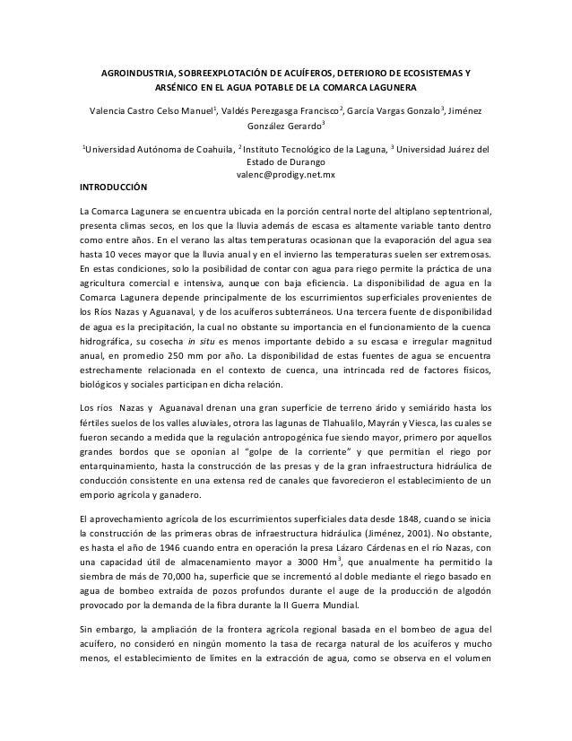 AGROINDUSTRIA, SOBREEXPLOTACIÓN DE ACUÍFEROS, DETERIORO DE ECOSISTEMAS Y ARSÉNICO EN EL AGUA POTABLE DE LA COMARCA LAGUNER...
