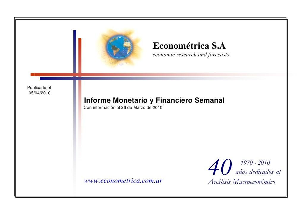 Econométrica S.A                                                 economic research and forecasts     Publicado el  05/04/2...