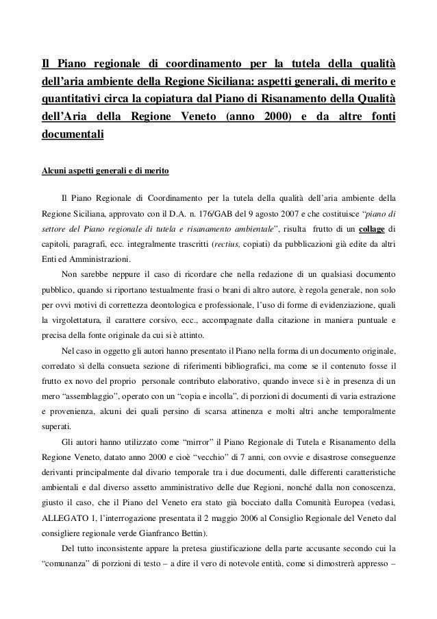 Il Piano regionale di coordinamento per la tutela della qualità dell'aria ambiente della Regione Siciliana: aspetti genera...
