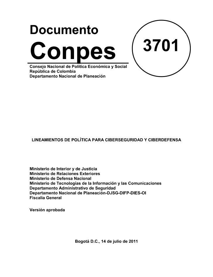 Documento Conpes 3701 2011 colombia políticas ciberseguridad