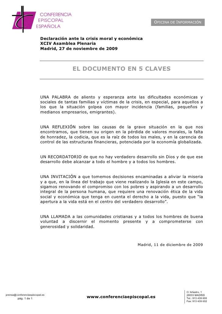 OFICINA DE INFORMACIÓN                              Declaración ante la crisis moral y económica                          ...