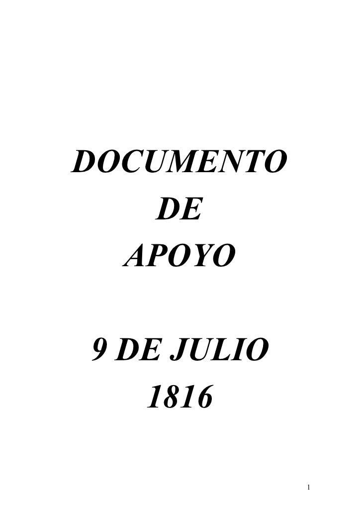 DOCUMENTO    DE  APOYO9 DE JULIO   1816             1