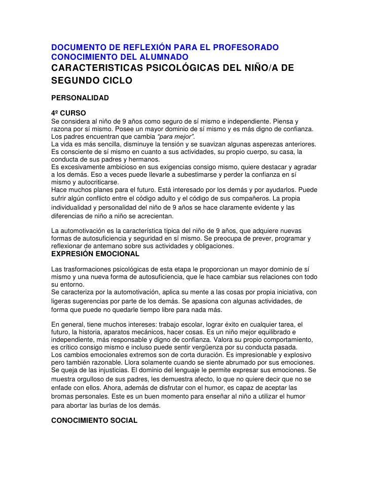 DOCUMENTO DE REFLEXIÓN PARA EL PROFESORADOCONOCIMIENTO DEL ALUMNADOCARACTERISTICAS PSICOLÓGICAS DEL NIÑO/A DESEGUNDO CICLO...