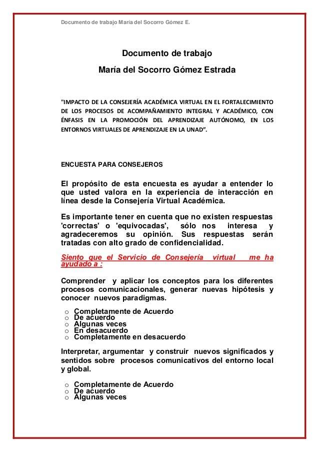 """Documento de trabajo María del Socorro Gómez E.Documento de trabajoMaría del Socorro Gómez Estrada""""IMPACTO DE LA CONSEJERÍ..."""