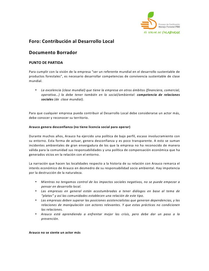 Foro: Contribución al Desarrollo Local Documento Borrador PUNTO DE PARTIDA Para cumplir con la...