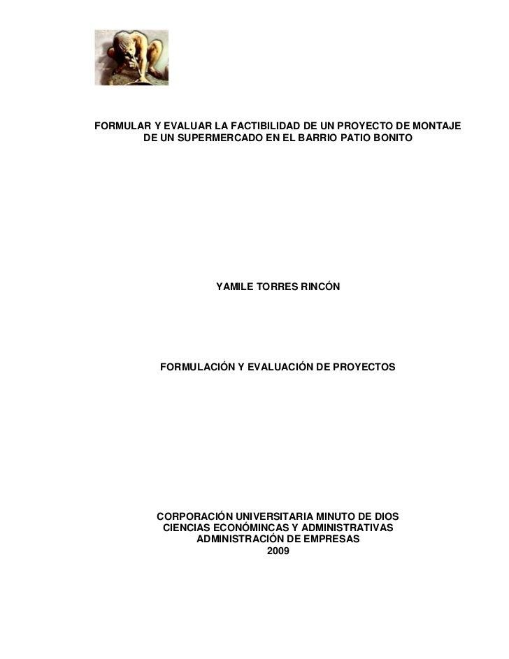 FORMULAR Y EVALUAR LA FACTIBILIDAD DE UN PROYECTO DE MONTAJE        DE UN SUPERMERCADO EN EL BARRIO PATIO BONITO          ...