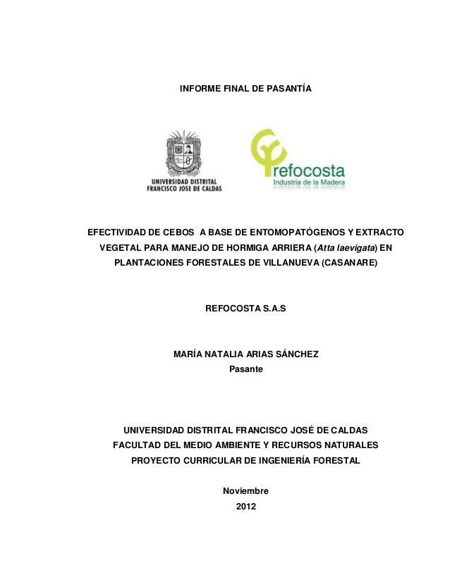 INFORME FINAL DE PASANTÍA EFECTIVIDAD DE CEBOS A BASE DE ENTOMOPATÓGENOS Y EXTRACTO VEGETAL PARA MANEJO DE HORMIGA ARRIERA...
