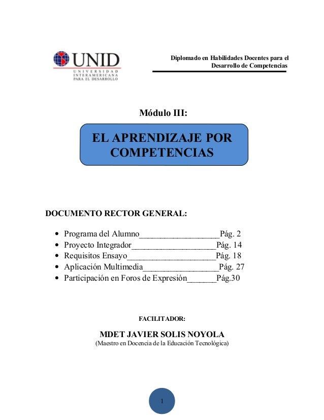 DOCUMENTO RECTOR DEL MÓDULO: APRENDIZAJE POR COMPETENCIAS