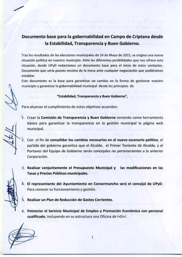 Documento base para la gobernabilidad en Campo de Criptana desde la Estabilidad,  Transparencia y Buen Gobierno.   Tras lo...
