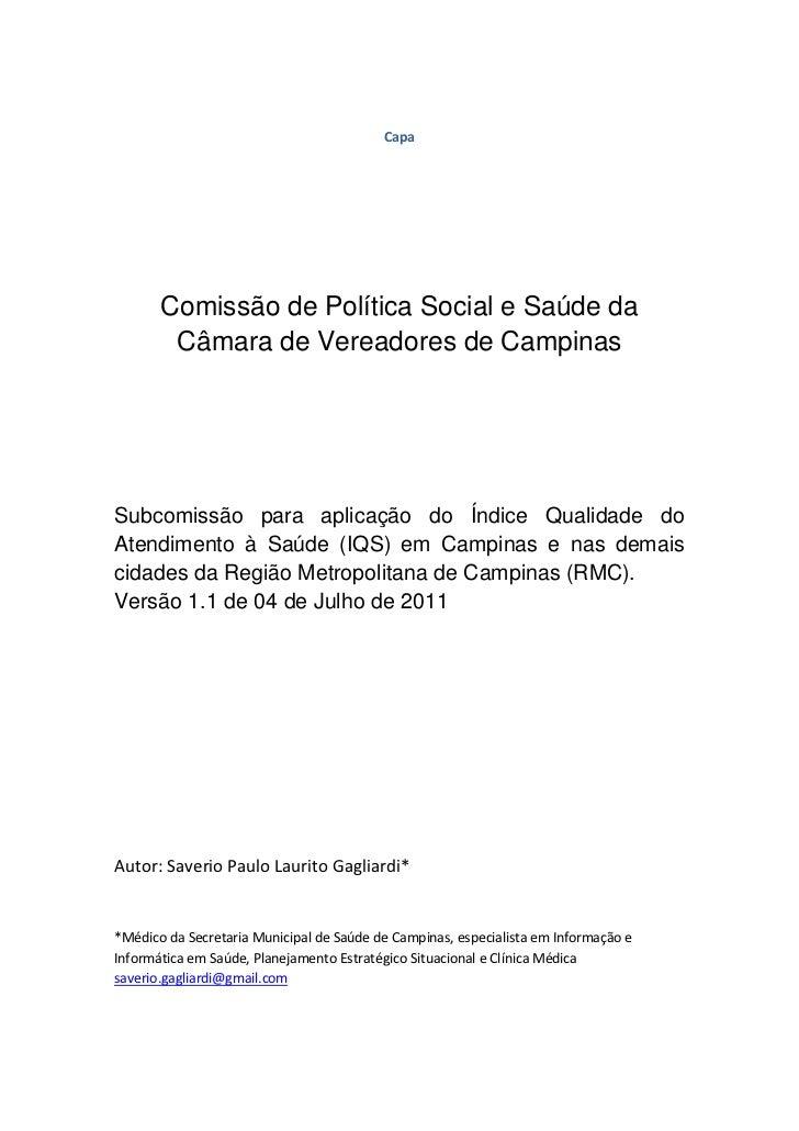 Capa       Comissão de Política Social e Saúde da        Câmara de Vereadores de CampinasSubcomissão para aplicação do Índ...