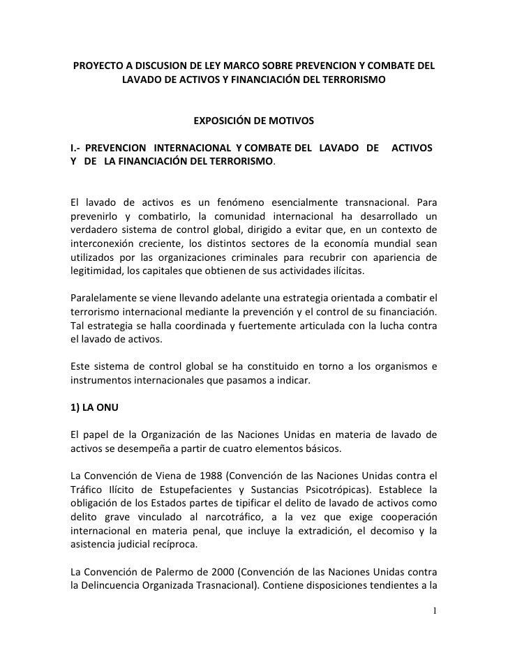 PROYECTO A DISCUSION DE LEY MARCO SOBRE PREVENCION Y COMBATE DEL        LAVADO DE ACTIVOS Y FINANCIACIÓN DEL TERRORISMO   ...