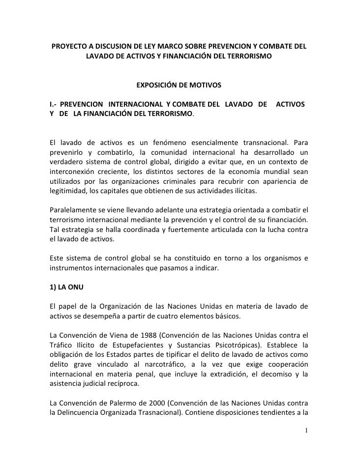 Proyecto a Discusión de Ley Marco sobre Prevención y Combate del Lavado de Activos y Financiación del Terrorismo