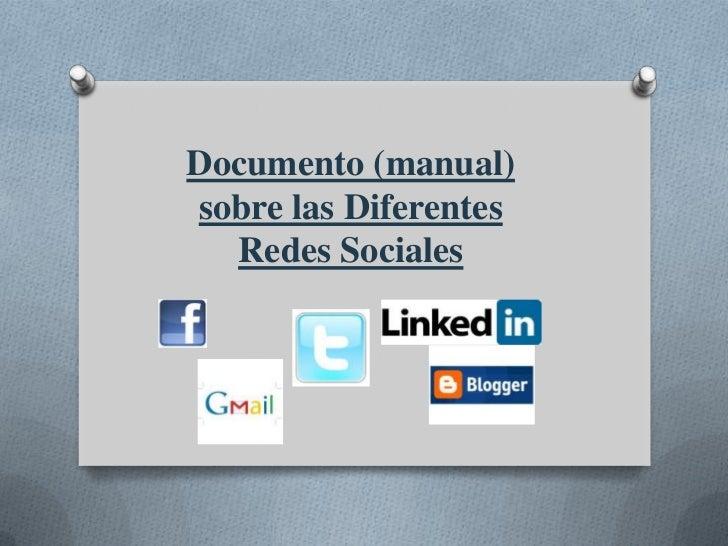 Documento (manual)sobre las Diferentes  Redes Sociales