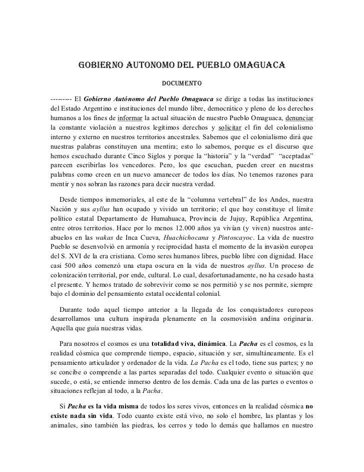 GOBIERNO AUTONOMO DEL PUEBLO OMAGUACA                                       DOCUMENTO--------- El Gobierno Autónomo del Pu...