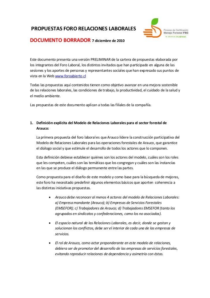 PROPUESTAS FORO RELACIONES LABORALESDOCUMENTO BORRADOR 7 diciembre de 2010Este documento presenta una versión PRELIMINAR d...