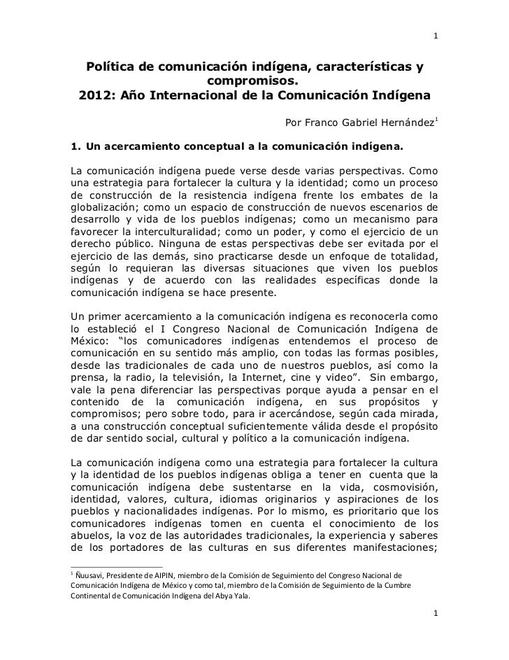 1     Política de comunicación indígena, características y                       compromisos.    2012: Año Internacional d...