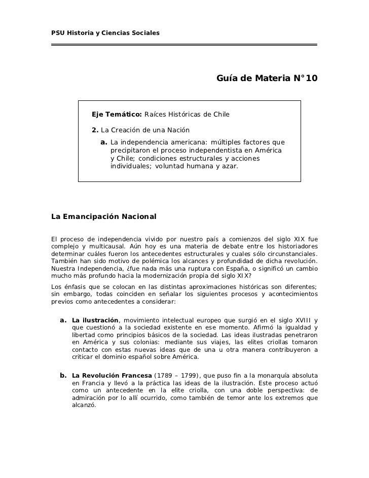 PSU Historia y Ciencias Sociales                                                     Guía de Materia N°10             Eje ...