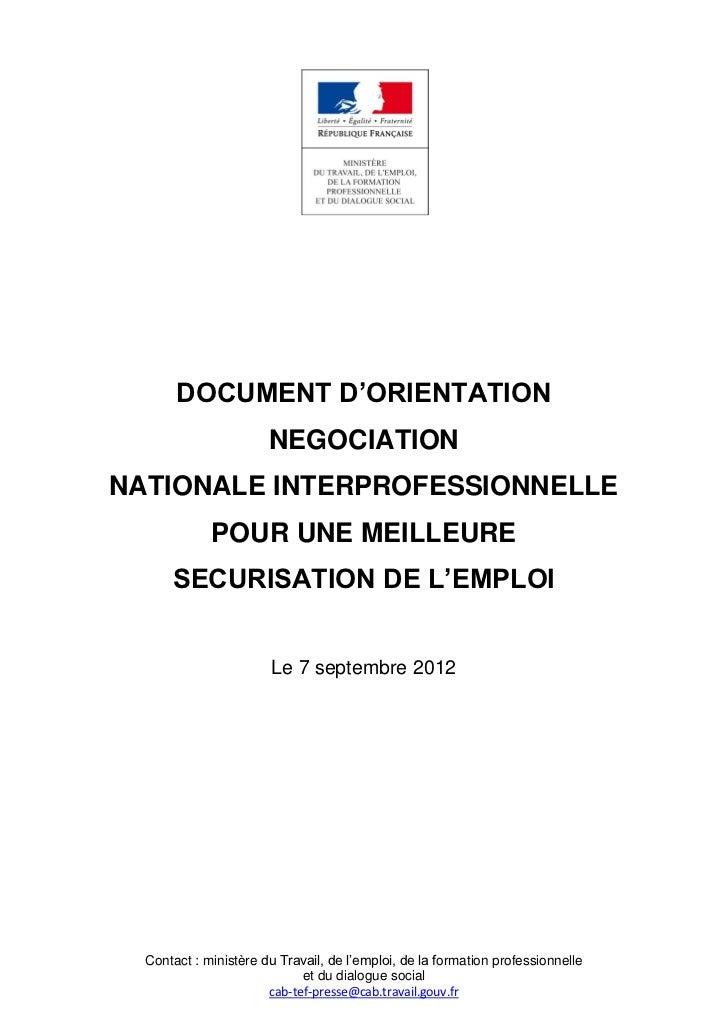 DOCUMENT D'ORIENTATION                       NEGOCIATIONNATIONALE INTERPROFESSIONNELLE             POUR UNE MEILLEURE     ...