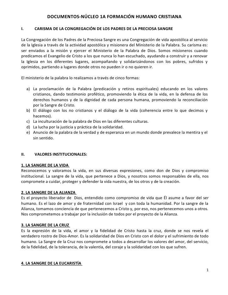 DOCUMENTOS-NÚCLEO 1A FORMACIÓN HUMANO CRISTIANAI.        CARISMA DE LA CONGREGACIÓN DE LOS PADRES DE LA PRECIOSA SANGRELa ...