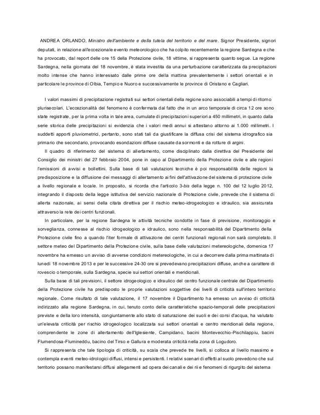 Nubifragio Sardegna: informativa Ministro Ambiente