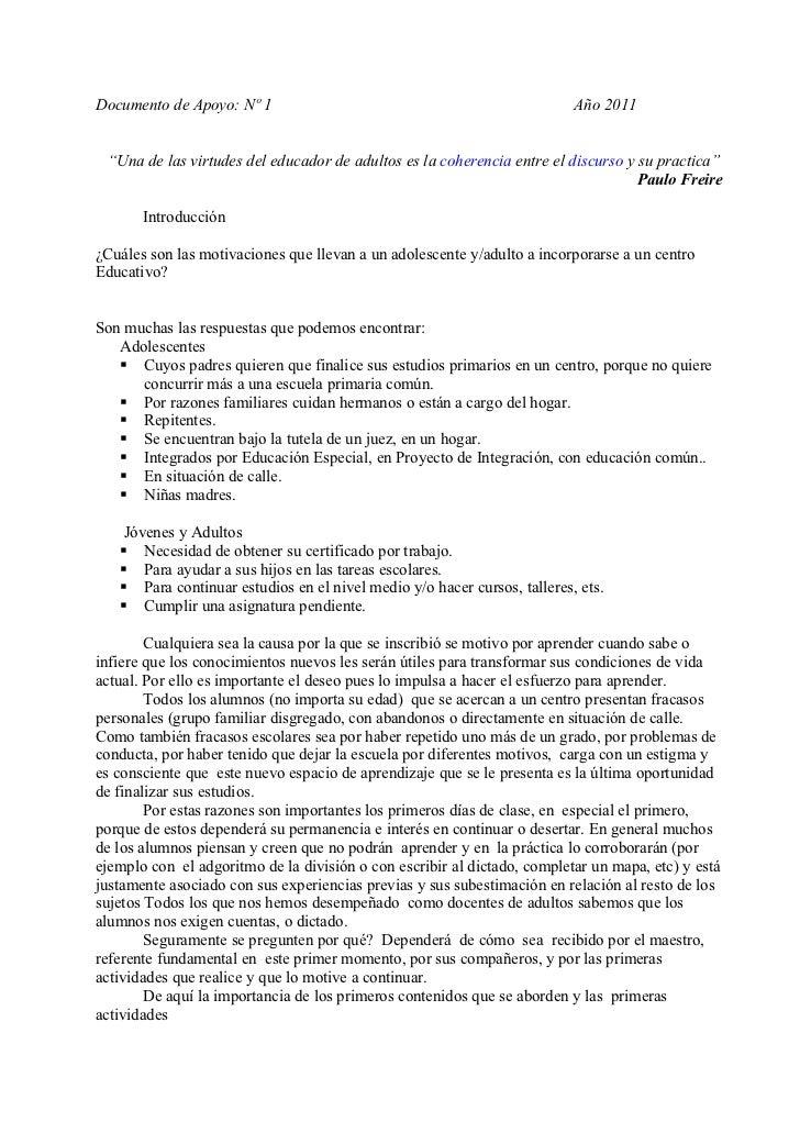 """Documento de Apoyo: Nº 1                                                  Año 2011 """"Una de las virtudes del educador de ad..."""