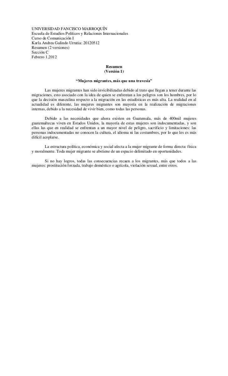 UNIVERSIDAD FANCISCO MARROQUÍNEscuela de Estudios Políticos y Relaciones InternacionalesCurso de Comunicación IKarla Andre...