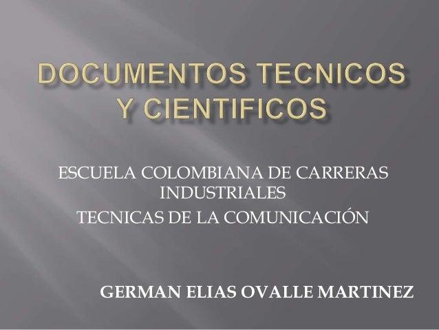 ESCUELA COLOMBIANA DE CARRERAS INDUSTRIALES TECNICAS DE LA COMUNICACIÓN GERMAN ELIAS OVALLE MARTINEZ