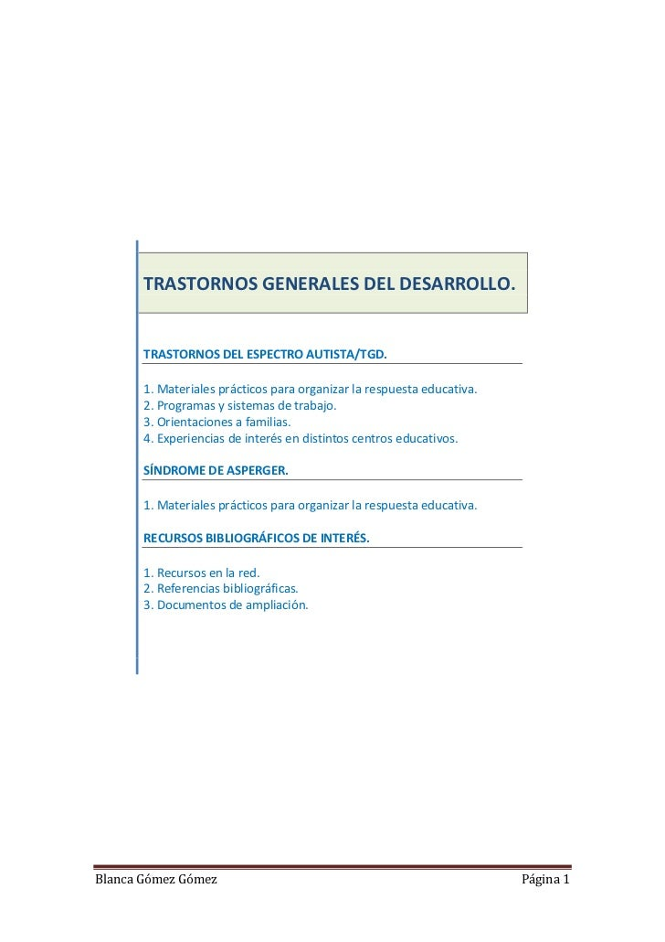 TRASTORNOS GENERALES DEL DESARROLLO.       TRASTORNOS DEL ESPECTRO AUTISTA/TGD.       1. Materiales prácticos para organiz...