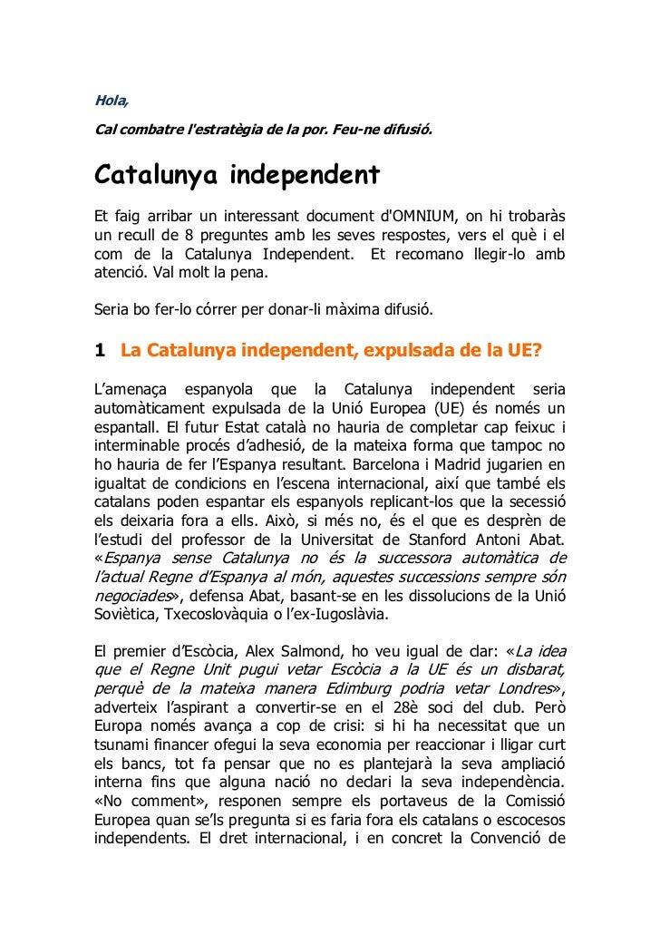 Document per fer front a la por. catalunya independent
