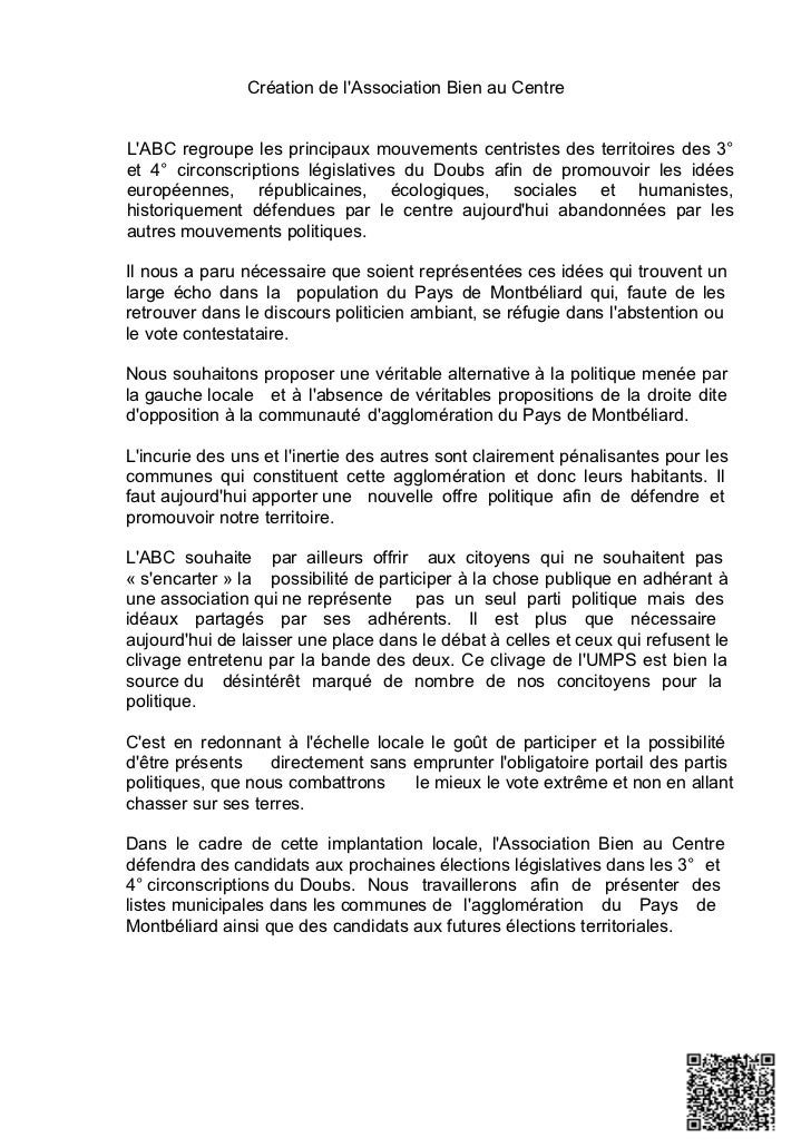 Création de lAssociation Bien au CentreLABC regroupe les principaux mouvements centristes des territoires des 3°et 4° circ...