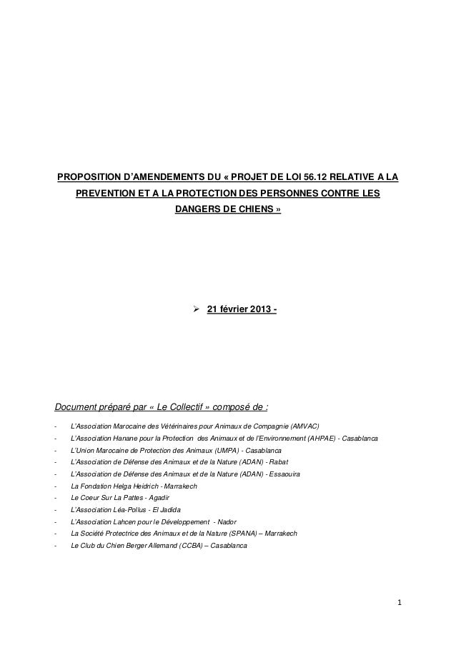 PROPOSITION D'AMENDEMENTS DU « PROJET DE LOI 56.12 RELATIVE A LA       PREVENTION ET A LA PROTECTION DES PERSONNES CONTRE ...