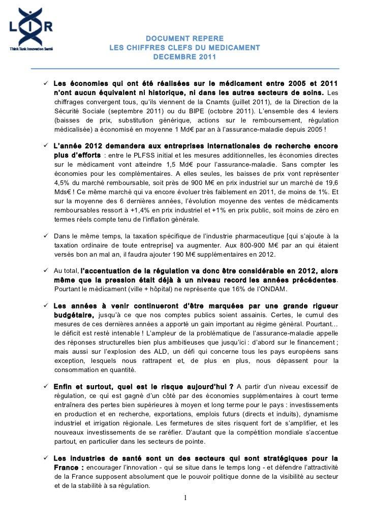 Document repère sur l'économie du médicament 12-2011